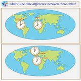 Logical task. What is the time difference between these cities?. Logical task.What is the time difference between these cities? Vector illustration Royalty Free Stock Images
