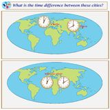 Logical task. What is the time difference between these cities?. Logical task.What is the time difference between these cities? Vector illustration Stock Photo