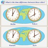 Logical task. What is the time difference between these cities?. Logical task.What is the time difference between these cities? Vector illustration Stock Image