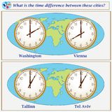 Logical task. What is the time difference between these cities?. Logical task.What is the time difference between these cities? Vector illustration Stock Photography
