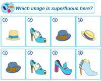 Logical task. Which image is superfluous here. Vector illustration royalty free illustration