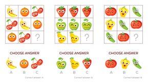 Logical tasks made up of fruits and vegetables stock illustration