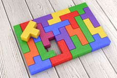 Logical Thinking Concept. Different Colorful Shapes Wooden Block. S on a wooden plank background. 3d Rendering Royalty Free Stock Photos