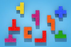 Logical Thinking Concept. Different Colorful Shapes Wooden Block. S on a blue background. 3d Rendering Vector Illustration