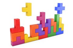 Logical Thinking Concept. Different Colorful Shapes Wooden Block. S on a white background. 3d Rendering Stock Images