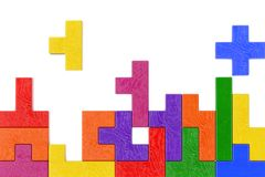 Logical Thinking Concept. Different Colorful Shapes Wooden Block. S on a white background. 3d Rendering Stock Photos