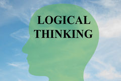 Logical Thinking concept. Render illustration of LOGICAL THINKING script on head silhouette, with cloudy sky as a background Royalty Free Stock Photography