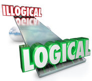 Logical Vs Illogical Words See Saw Balance Scale. Logical Vs Illogical words on a see-saw, balance or scale to weigh the pros and cons of reason, rationale and Stock Photos