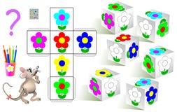 Logicaraadsel De behoefte om de witte bloemen op te schilderen dobbelt volgens patroon Stock Afbeelding