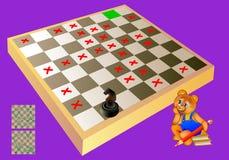 Logicaraadsel met labyrint - behoefte om manier voor schaakridder tot het groene vierkant te vinden Verboden aan stap op de rode  Royalty-vrije Stock Foto