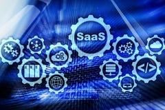 Logiciel comme service SaaS Concept de logiciel Mod?le moderne de technologie sur un fond de pi?ce de serveur d'?cran virtuel illustration libre de droits