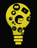 Logiciel de gestion d'entreprise et concept social de media Image libre de droits