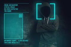 Logiciel facial de reconnaissance échoué à la vérification biométrique photos libres de droits