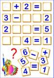 Logiczna matematyka ćwiczy dla dzieciaków Potrzebuje znajdować brakujących szczegóły i pisać liczbach w istotnych miejscach, rozw Zdjęcie Stock