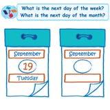 Logiczny zadanie Co jest następnym dzień tygodnia royalty ilustracja
