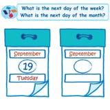 Logiczny zadanie Co jest następnym dzień tygodnia ilustracja wektor