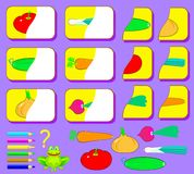 Logikövning för barn Behöv finna de andra delarna av grönsaker och dra dem i relevanta ställen Arkivfoton