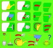 Logikövning för barn Behöv finna de andra delarna av trädgårds- hjälpmedel och dra dem i relevanta ställen Arkivfoton