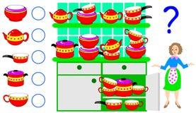 Logikövning för barn Behöv räkna antalet av disk och skriva numren i motsvarande cirklar Fotografering för Bildbyråer