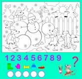 Logikövning för barn Hur många objekt kan du finna i bilden? Färga dem och skriv numren Royaltyfria Bilder