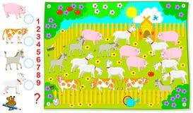 Logikövning för unga barn Hur många tamdjur finns det i lantgården? Räkna antalet och skriv numren Royaltyfri Foto