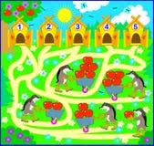 Logiki ćwiczenie dla dzieci Potrzebuje liczyć ilość jabłka i rysować sposób od each zwierzęcia do poprawny dom Zdjęcie Royalty Free