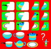 Logiki ćwiczenie dla dzieci Potrzebuje znajdować drugi części naczynia i rysować one w istotnych miejscach Obraz Stock