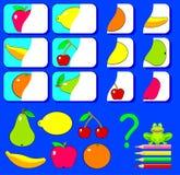 Logiki ćwiczenie dla dzieci Potrzebuje znajdować drugi części owoc i rysować one w istotnych miejscach Fotografia Royalty Free