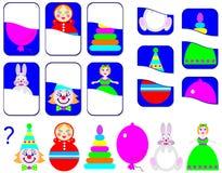 Logiki ćwiczenie dla dzieci Potrzebuje znajdować drugi części zabawki i rysować one w istotnych miejscach Fotografia Stock