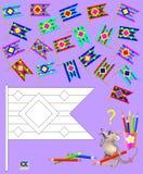 Logiki łamigłówka dla dzieci Potrzebuje znajdować dwa identycznej flaga i malować czarny i biały rysunek w korespondować kolory Fotografia Stock