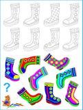 Logiki łamigłówka dla dzieci Potrzebuje znajdować parę each but i malować one identycznym wzorem Fotografia Royalty Free