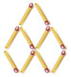 Logiki łamigłówka Ruchu dwa matchsticks robić sześć rhombuses Zdjęcia Stock