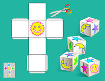 Logiki łamigłówka Rysuje istotnych wizerunki na wzorze, barwi i robi sześcianem, (jak pokazywać na próbkach) Zdjęcie Royalty Free