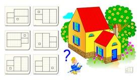 Logiki łamigłówki gra dla dzieci i dorosłych Pomaga pracownika znajdować plan koresponduje dom Szablon dla brainteaser książki royalty ilustracja