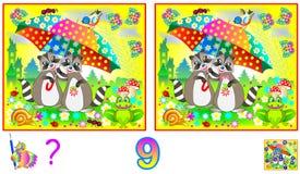 Logiki łamigłówki gra dla dzieci i dorosłych Potrzeba znajdować 9 różnic Rozwija umiejętności dla liczyć Obraz Stock