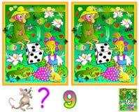 Logiki łamigłówki gra dla młodych dzieci Potrzeba znajdować dziewięć różnic Rozwija umiejętności dla liczyć Zdjęcia Royalty Free