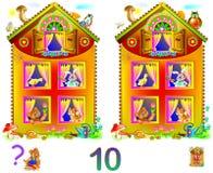 Logiki łamigłówki gra dla młodych dzieci Potrzeba znajdować 10 różnic Rozwija umiejętności dla liczyć Obrazy Royalty Free
