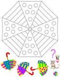 Logiki łamigłówki gra Potrzeba malować wzór w korespondować barwi Wszystkie parasole ten sam ornament Zdjęcia Stock