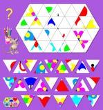 Logiki łamigłówki gra Potrzeba znajdować poprawnego miejsce dla each trójboka i rysować one w pustych miejscach Obrazy Stock