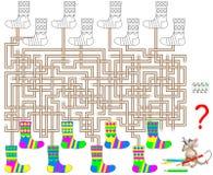 Logiki łamigłówki gra z labityntem dla dzieci i dorosłych Znajduje parę dla each skarpety i farbę w koresponduje kolorach Zdjęcie Stock