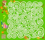 Logiki łamigłówki gra z labityntem Potrzebuje rysować sposób od ślimaczka do pieczarki, Fotografia Stock