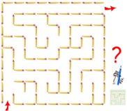 Logiki łamigłówki gra z labityntem Potrzebuje usuwać jeden matchstick i znajdować sposób od początku do końcówki Zdjęcia Stock