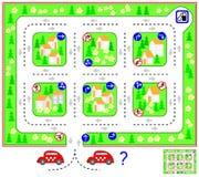 Logiki łamigłówki gra z labityntem Znajduje sposób do staci benzynowej i obraca z powrotem szanować ruchów drogowych znaki Zawrac ilustracja wektor