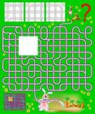 Logikpussel med labyrinten Behöv finna det enda ett korrekta stycket och dra rören, så kaninen ska vara i stånd till att bevattna Fotografering för Bildbyråer