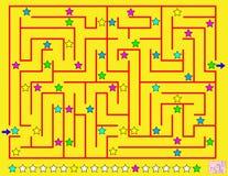 Logikpussel med labyrinten Måla linjen av stjärnor som du möter på din väg som respekterar regelbundenhet Arkivfoto