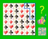 Logikpussellek Behöv dra linjerna, så att varje diagram ska ha fyra olika tecken av kortdräkter Royaltyfria Bilder