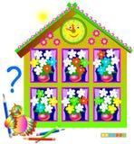 Logikpussellek för unga barn Behöv måla de vita blommorna, så att varje bukett ska innehålla den samma uppsättningen Royaltyfria Bilder