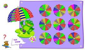 Logikpussellek för ungar Behöv finna korrekt bästa sikt av paraplyet Tryckbar sida för skolalärobok fotografering för bildbyråer
