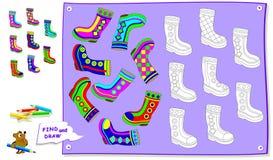 Logikpussellek för ungar Behöv finna paren av varje känga och måla dem vid den identiska prydnaden Tryckbar arbetssedel arkivfoton