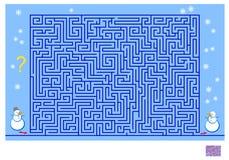 Logikpussellek med labyrinten för barn och vuxna människor Hjälp snögubben att finna vägkassalådan hans vän och att dra linjen royaltyfri foto